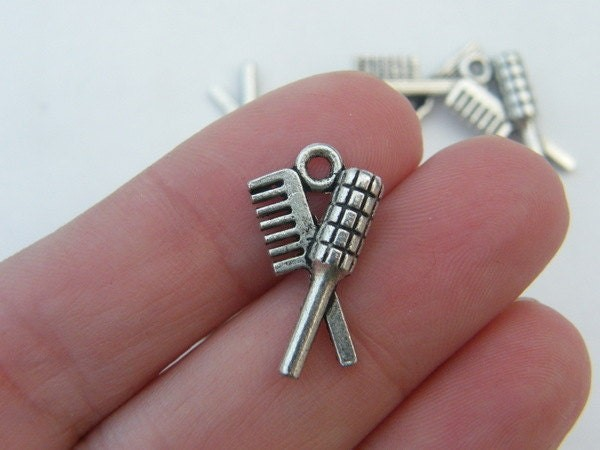 6 Hair brush and comb charms antique silver tone P219