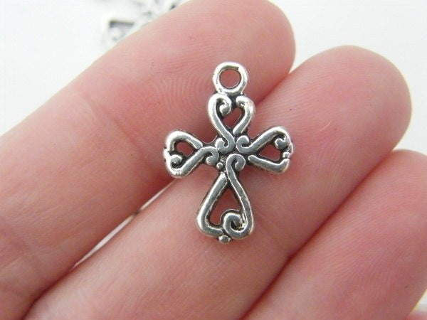 BULK 50 Cross charms antique silver tone C8