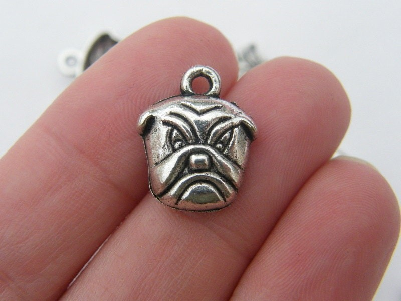 6 Bull dog charms antique silver tone A792