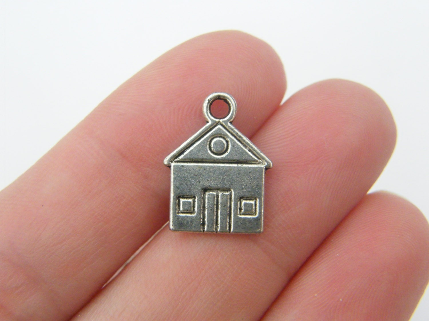 10 House charms antique silver tone P48