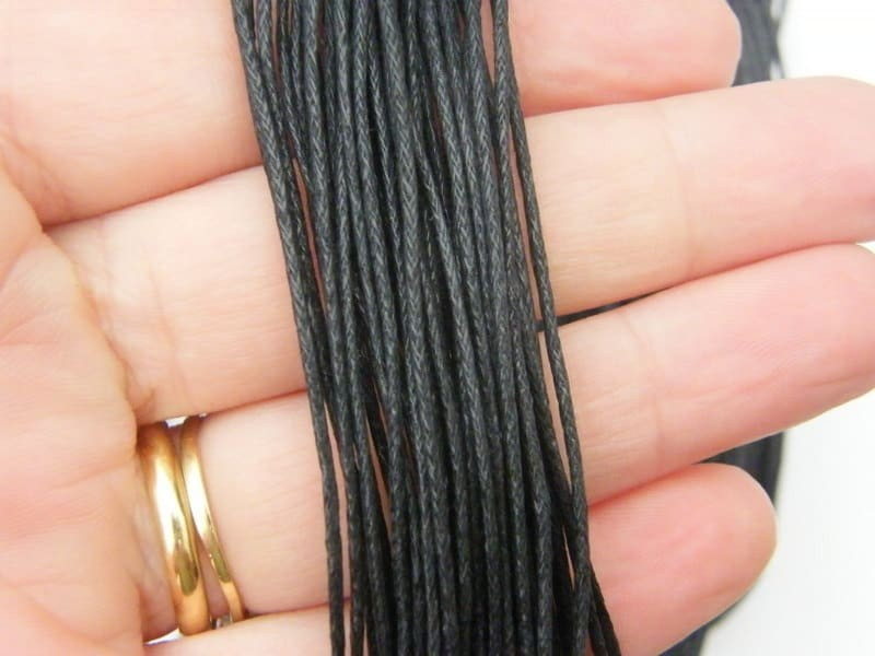 5 Meter black waxed cord 2mm thick FS535