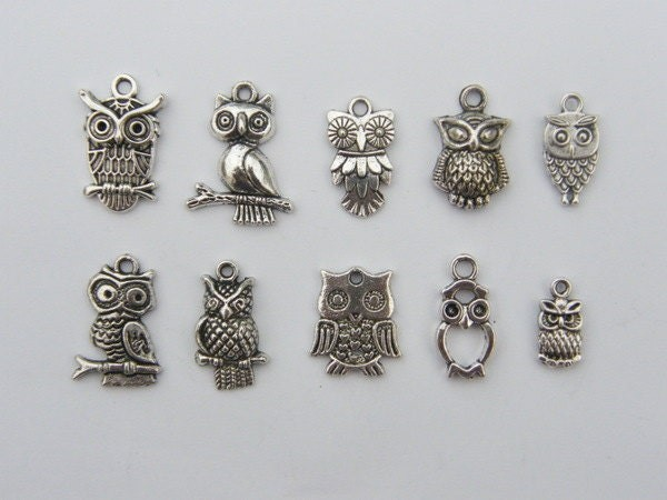 The Ultimate Owl Charms Collection -  10 different antique silver tone owl pendants or charms