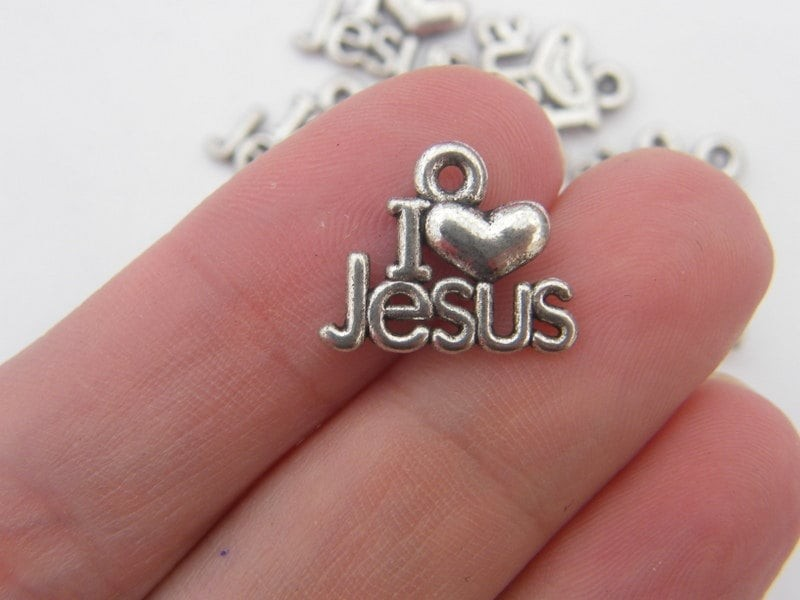 15 I love Jesus charms antique silver tone R21