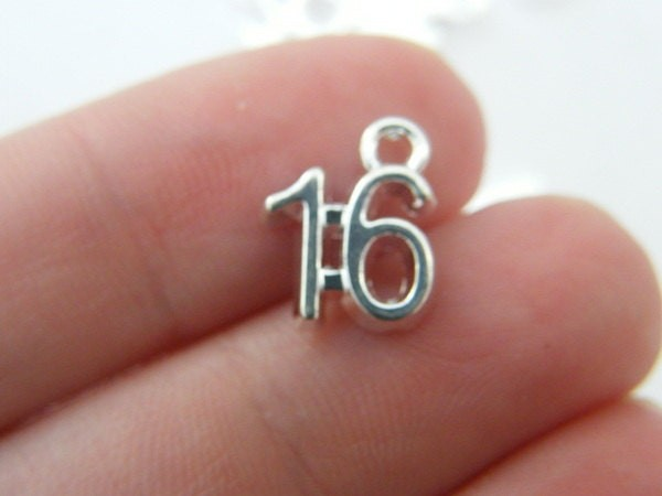 8 Number 16 charms silver plated
