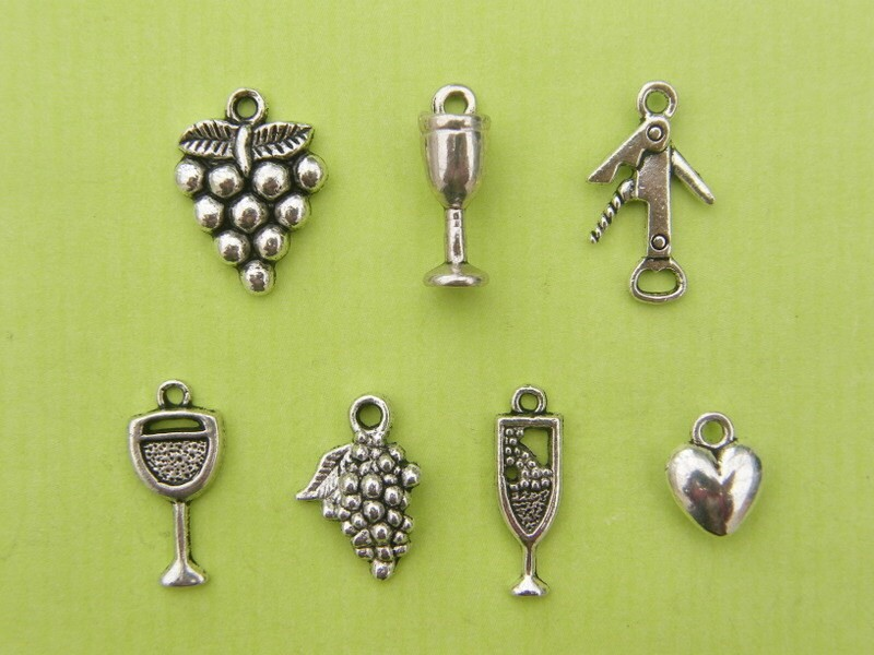 The Love Wine  Charms Collection -7 different antique silver tone charms