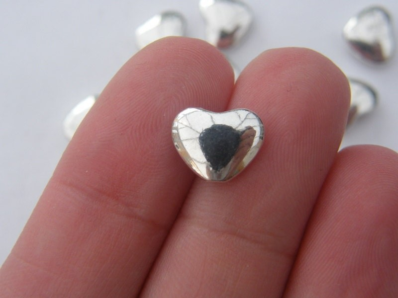 10 Heart spacer beads antique silver tone H71