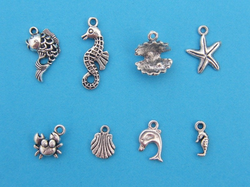 The Under The Sea Collection - 8 different antique silver tone charms