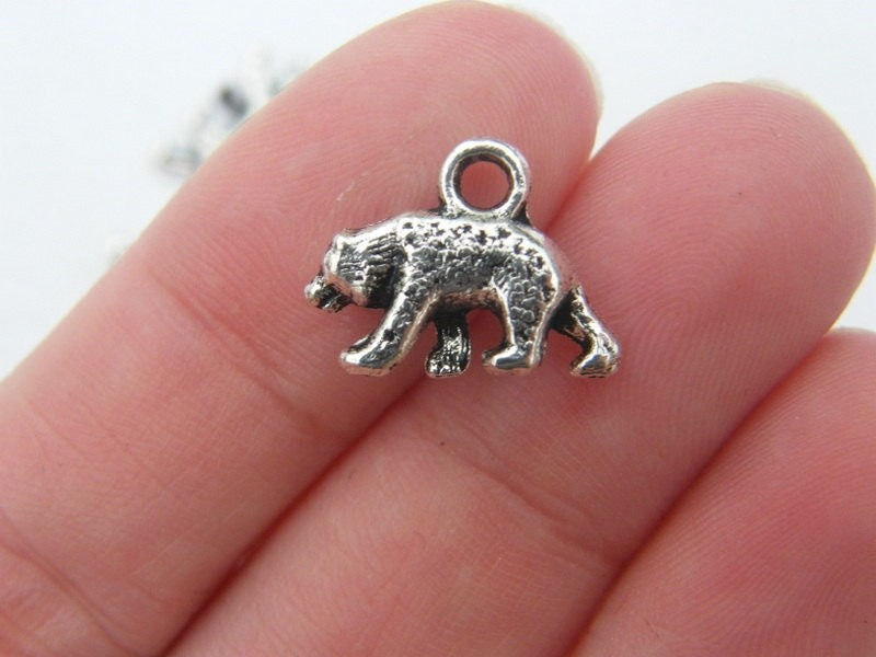 8 Bear charms antique silver tone A186