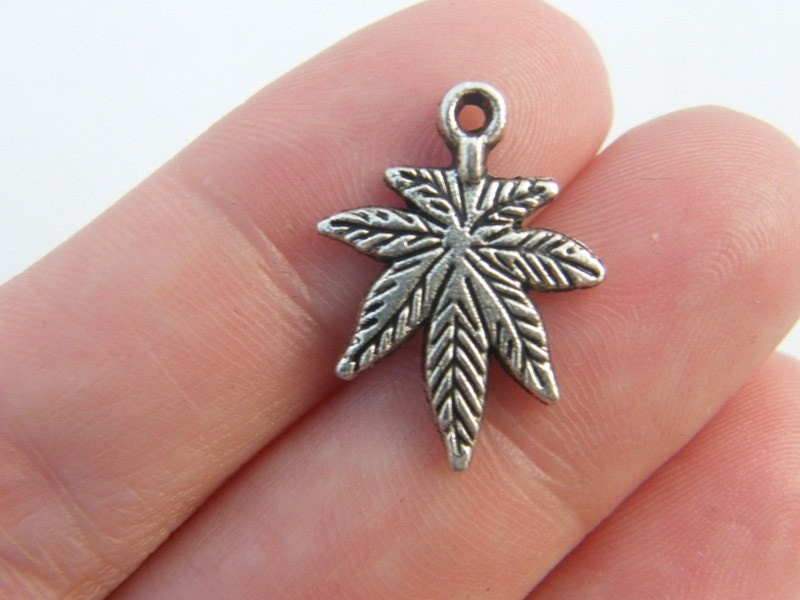 10 Marijuana weed leaf charms antique silver tone L16