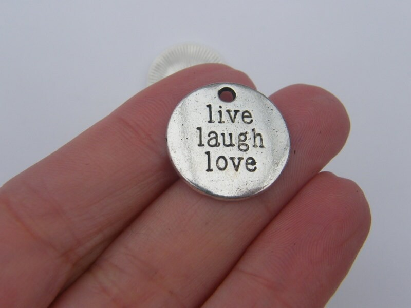 6 Live Laugh Love pendants antique silver tone M315