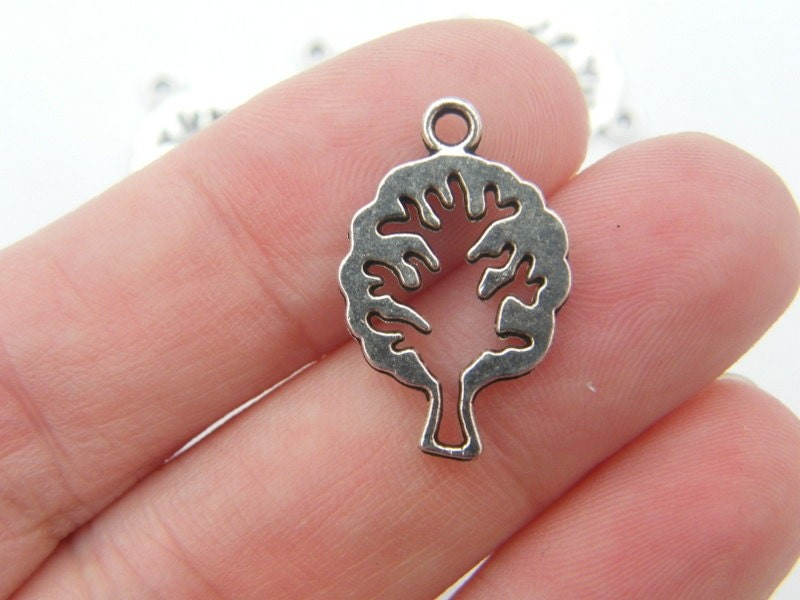 12 Tree charms antique silver tone T15