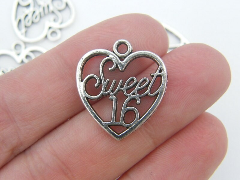 6 Sweet 16 heart pendants antique silver tone H2
