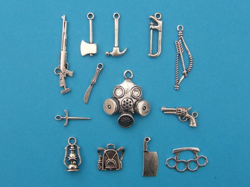 Survival Collection - 13 different antique silver tone charms