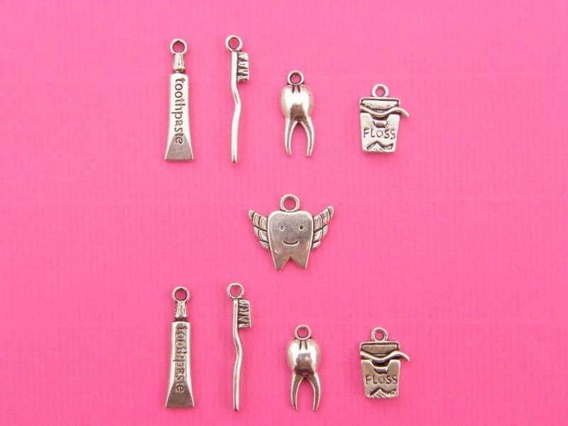 The Dentist Collection - 9 antique silver tone charms