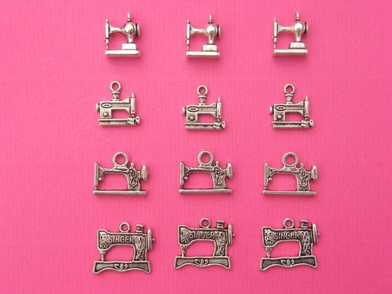 The Sewing Machine Collection - 12 antique silver tone charms, 4 different types