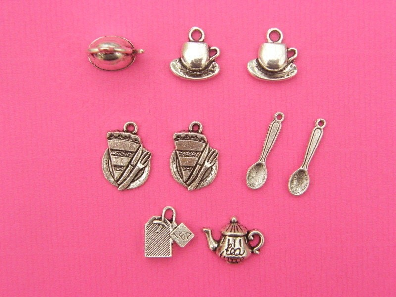 The Tea For Two Collection - 9 Antique silver tone charms