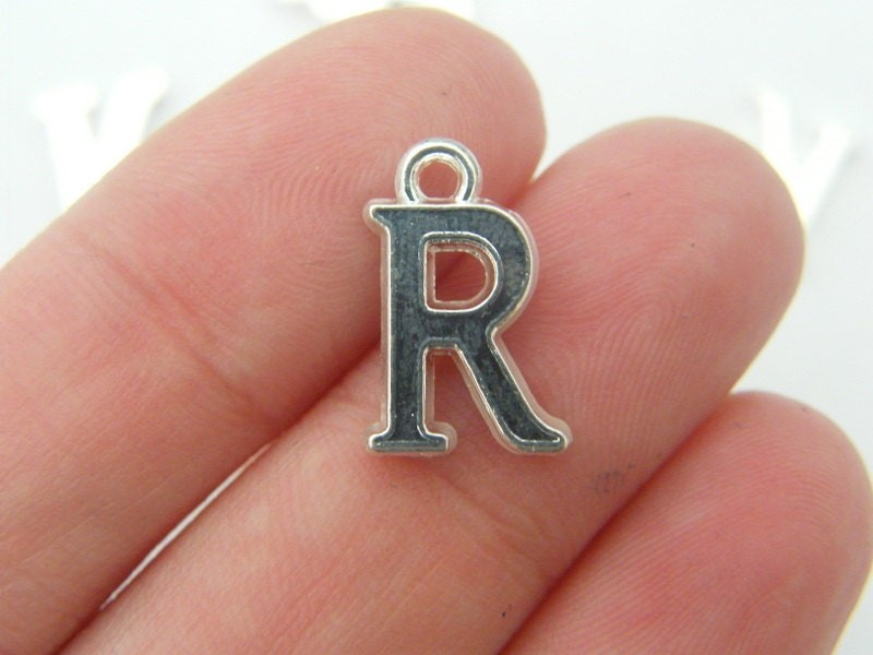 BULK 30 Letter R alphabet charms silver plated