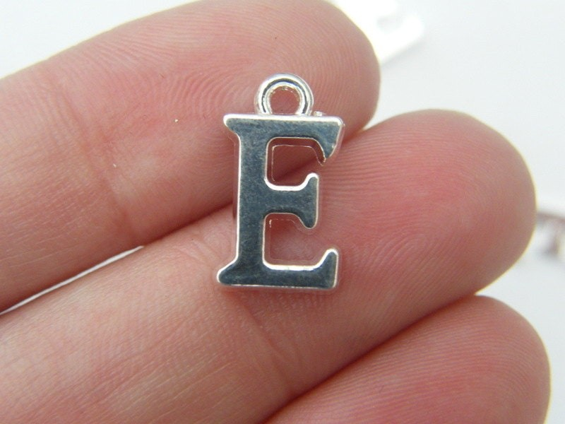 BULK 30 Letter E alphabet charms silver plated