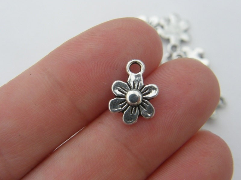 BULK 50 Flower charms antique silver tone F5