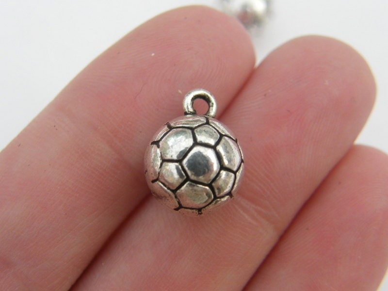 4 Soccer football ball charms antique silver tone SP36
