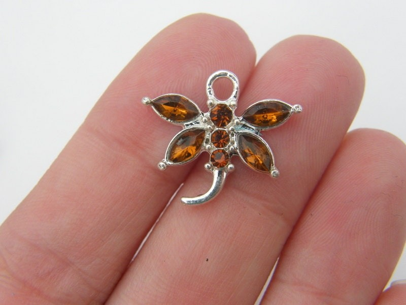 2 Brown rhinestone dragonfly pendant silver plated A409