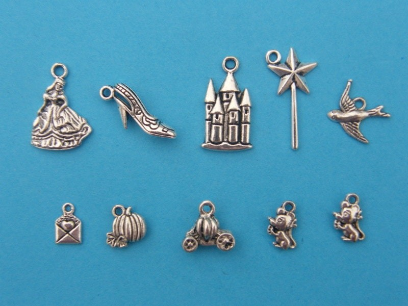 The Cinderella Charm Collection - 10 antique silver tone charms