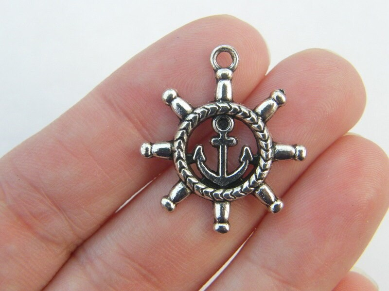 6 Helm and Anchor Pendants antique silver tone FF625