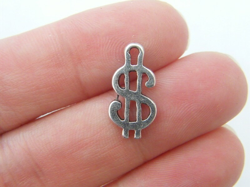 BULK 50 Dollar sign charms antique silver tone WT97