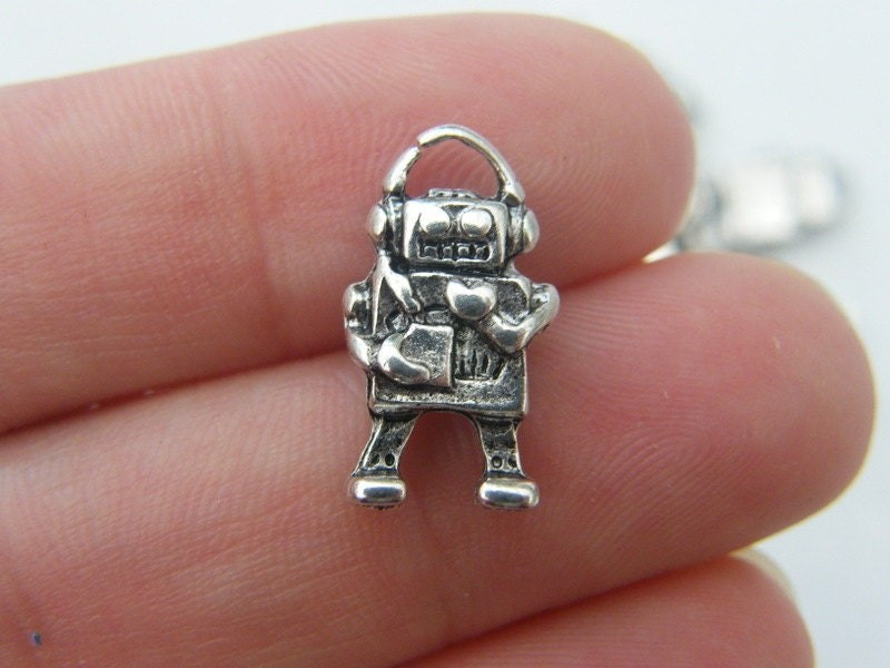 8 Robot charms antique silver tone P210