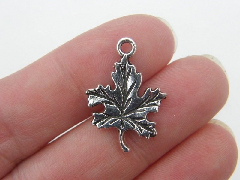 BULK 50 Leaf charms antique silver tone L12