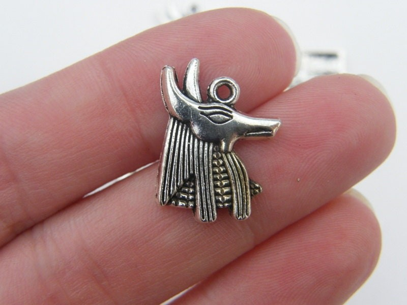 8 Anubis Egyptian head charms antique silver tone WT74