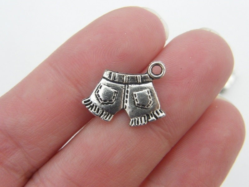 10 Pair of shorts charms antique silver tone CA142