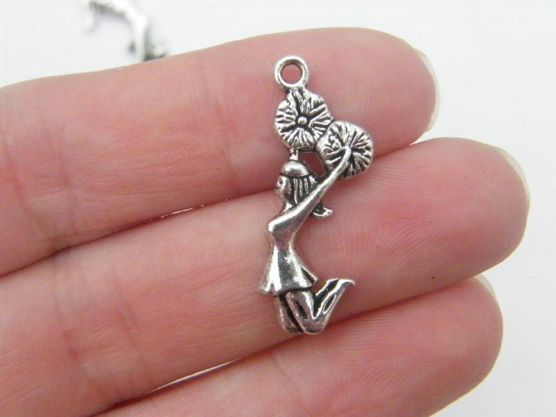 8 Cheerleader charms antique silver tone SP89