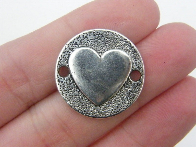 6 Heart connector charms antique silver tone H29