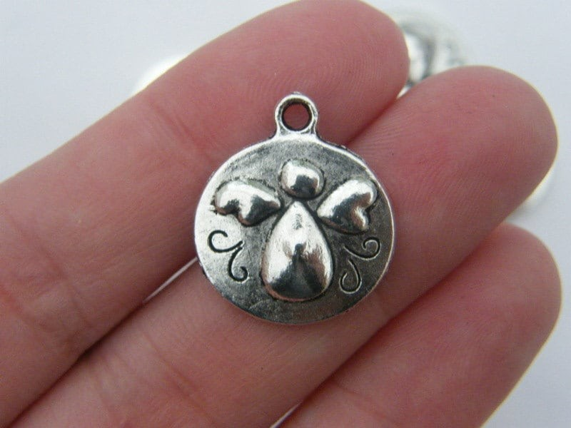 BULK 50 Angel charms antique silver tone AW62