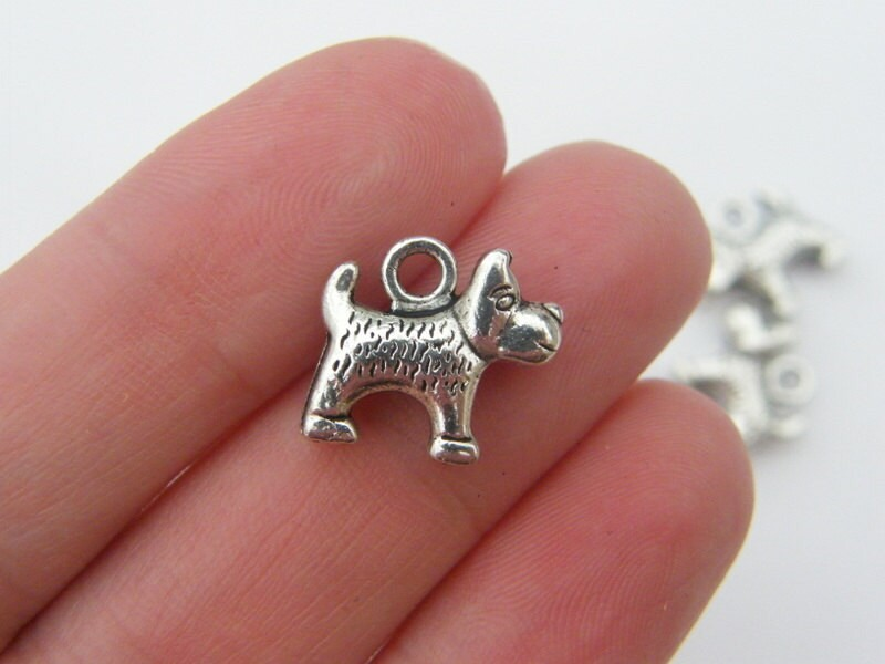 BULK 45 Dog charms antique silver tone A888