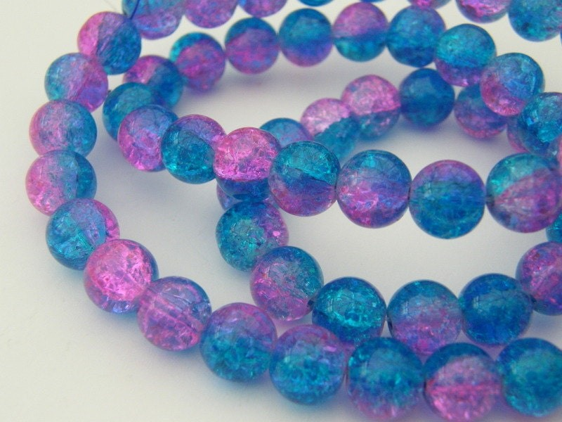 100 Blue and pink crackle glass beads B155