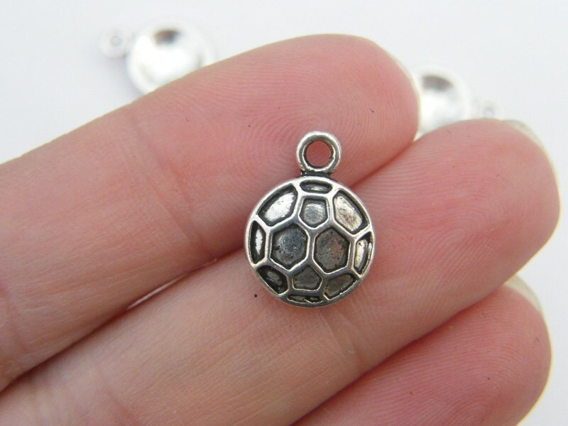 10 Soccer football ball charms antique silver tone SP34