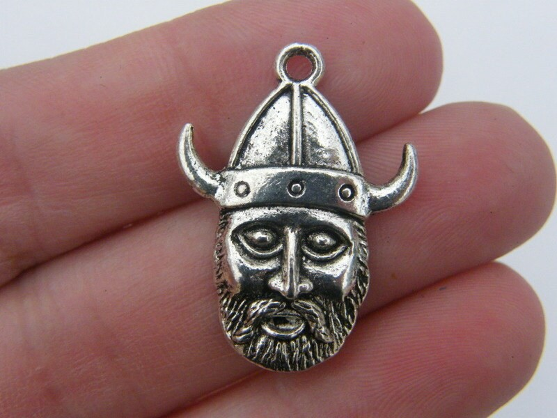 4 Viking pendants antique silver tone SW32