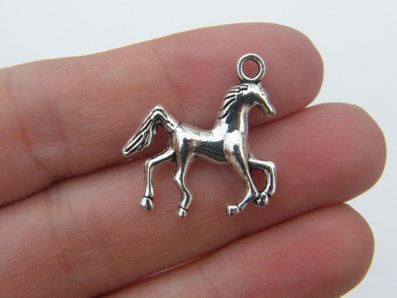 BULK 50 Horse charms antique silver tone A603