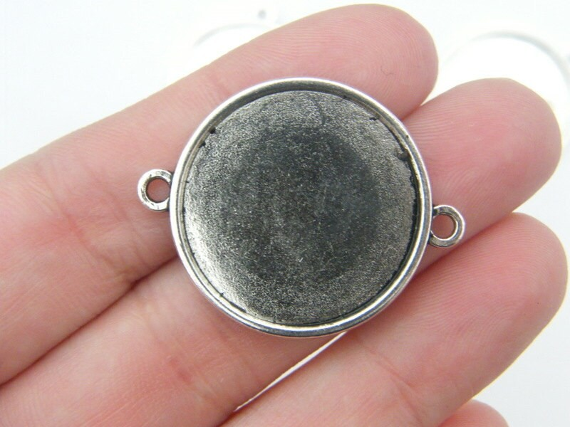 6 Connector cabochone frame  35 x 28mm fits 25mm antique silver tone FS229