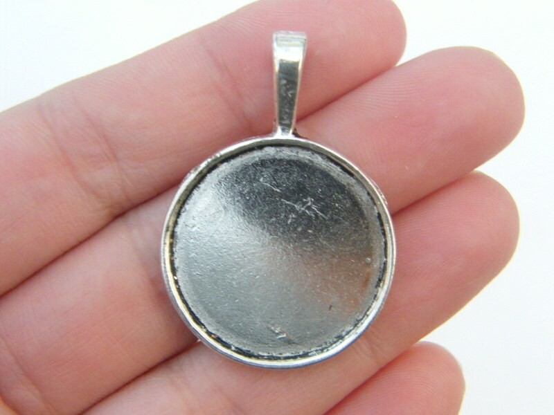 BULK 20 Cabochon frame pendants 39 x 28mm fits 25mm antique silver tone FS230