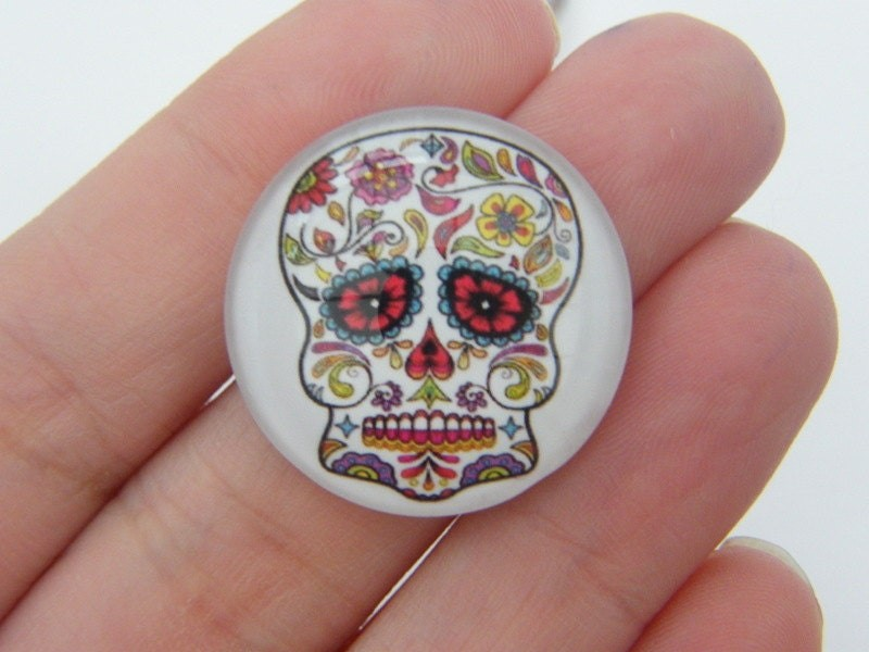 4 Skull Glass cabochon seal dome 25mm G1