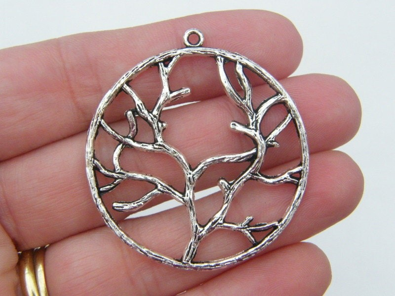 BULK 20 Tree pendants antique silver tone T11