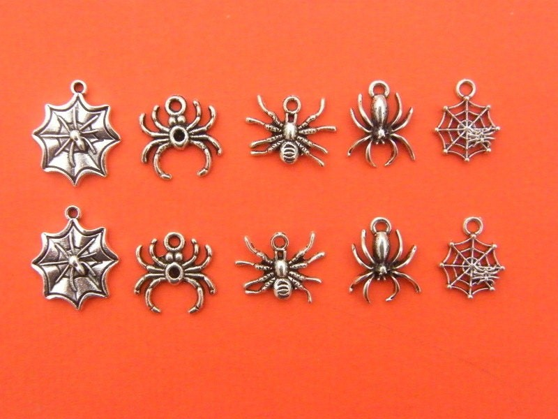 The Spider Collection - 10 antique silver tone charms