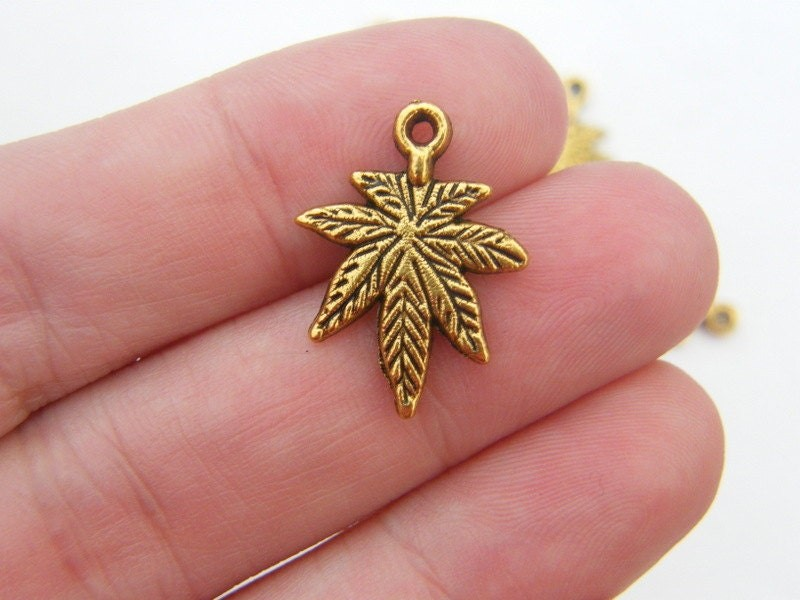 10 Leaf marijuana weed charms antique gold tone L144