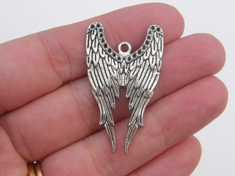 4 Angel wings pendants antique silver tone AW24