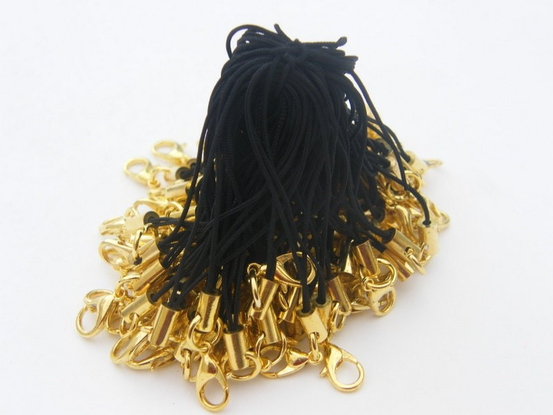 20 Black and gold cell phone strap 70mm with lobster clasp