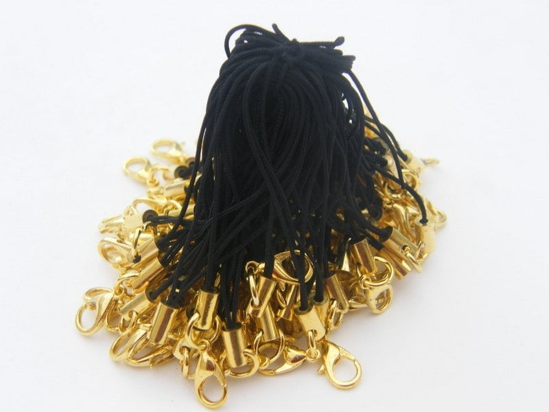 BULK 100 Black and gold cell phone strap 70mm with lobster clasp