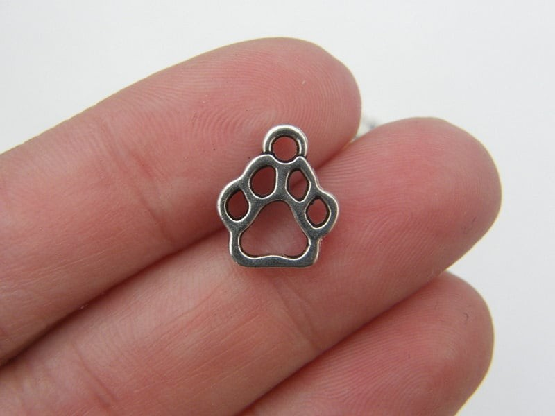 BULK 50 Paw print charms antique silver tone A479 - SALE 40% OFF